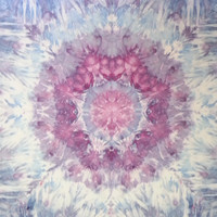 Mandala Tie Dye Tapestry in purple, blue and grey wall hanging