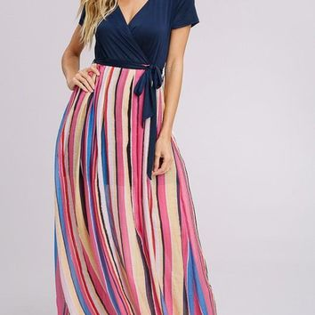 Fun in the Sun Striped Maxi Dress
