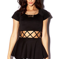 Caged Peplum Top