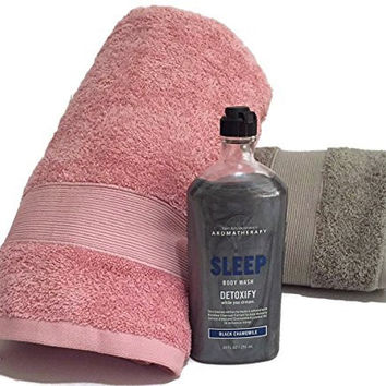 Romance Aromatherapy Black Chamomile Body Wash Bundle Includes His and Hers Bath Towels