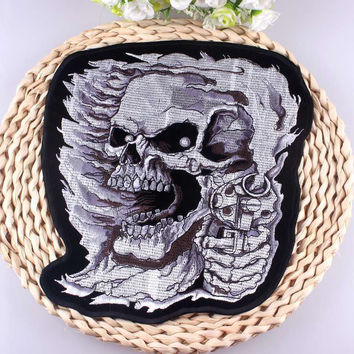 Biker Iron On Patch Skull Embroidered Punk Back Badge