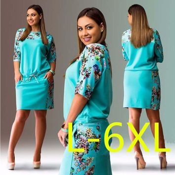 Spring Printed Dress in Colors - Plus Size Women