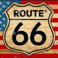 Route 66 on American Flag Tag