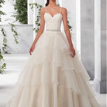 [188.99] Marvelous Tulle & Satin Spaghetti Straps Neckline A-Line Wedding Dresses With Lace Appliques - dressilyme.com
