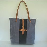 Waxed Canvas Tote Bag Leather Straps Weather Resistant Grey Navy