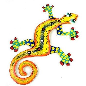 Eight Inch Dots and Yellow Metal Gecko - Caribbean Craft