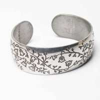 Pewter Cuff Bracelet with Lily of the Valley Floral Design