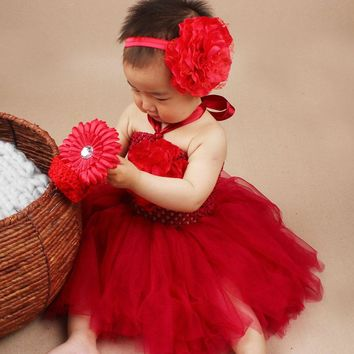 Christmas Tutu Dress with Matching Headband Baby Girl Peony Flower Tulle Dress Set Birthday Party Photo Costume TS043