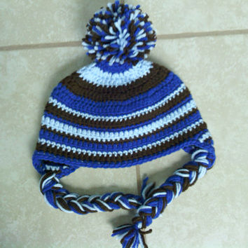 Crochet Toddler Hat, Braided Earflap Beanie, Bobble Hat, Ready to Ship, Handmade Hat