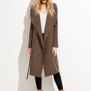Brown Faux Suede Layered Wrap Coat | MakeMeChic.COM
