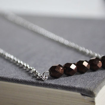 Expresso Brown Bar Necklace, Minimalist Metallic Czech Glass Necklace, Chocolate Brown with Metallic Shine,Canadian Shop
