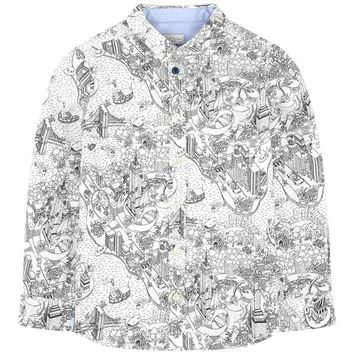Paul Smith Junior - Boy Doodle Button Shirt Long Sleeve, Black And White