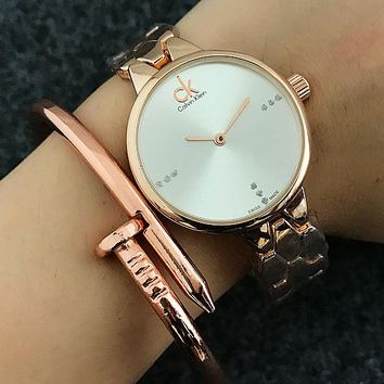 Calvin Klein tide brand fashion men and women leisure watches F-Fushida-8899 Rose gold + white dial