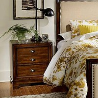 Manor Downs 3-Drawer Nightstand with Cup Pulls Rustic Cherry - Homelegance : Target