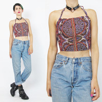 Ethnic Cotton Halter Top Vintage Boho Crop Top 90s Festival Bralette Backless Summer Cropped Top Purple Paisley Floral Tank Top (XS/S)
