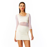 Ivory Tower Solid Basic Cream Spandex Wide Strap Crop Top // 90s