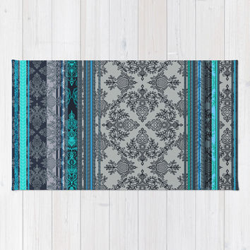 Teal, Aqua & Grey Vintage Bohemian Wallpaper Stripes Area & Throw Rug by micklyn
