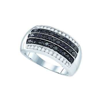 10kt White Gold Womens Round Black Colored Diamond Five Row Stripe Band 1 Cttw 81458