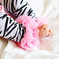 Adorable Baby Legwarmers, Light Pink Chiffon Baby Legwarmers, Newborn Legwarmers, Zebra, Babylegs, Toddler and Newborn Legwarmers, Leggies