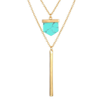 Shiny Gift Stylish New Arrival Jewelry Turquoise Pendant Korean Accessory Sweater Chain Necklace [8804712839]