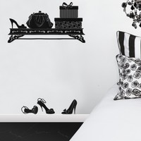 Wake Up Frankie - Handbag and Shoes Wall Decal (with hooks) : Teen Bedding, Pink Bedding, Dorm Bedding, Teen Comforters