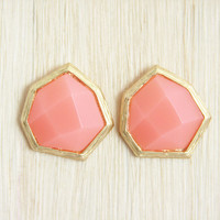 Coral Heptagon Earrings