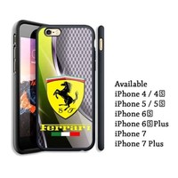 Luxury Ferrari Metal SIlver Car Logo iPhone 6 6s 7 8 X Plus Hard Plastic Case