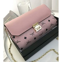 MCM summer new shoulder bag fashion printing aircraft chain bag F0421-1 Pink