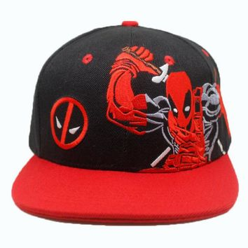 Deadpool red Cosplay Cap Marvel Comics Hero ladies dress Hat 3d embroidery Costume Props Baseball cap canvas snapback caps 2017