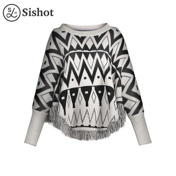 Women casual knitwear autumn winter black geometric tassel o neck sleeve loose patchwork casual pullovers