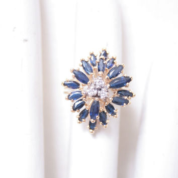 Antique Real Sapphire and Diamond 14 Karat Gold Ornate Ring, Engagement or Wedding Ring