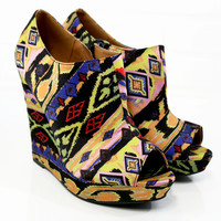 Paradise Island Black Peep Toe Tribal Wedges