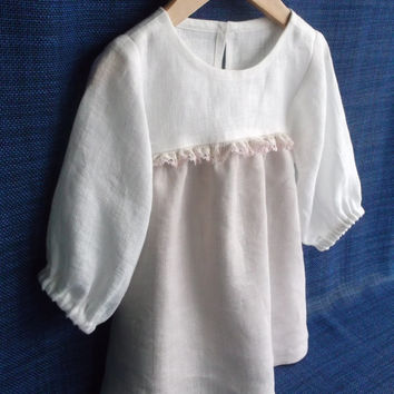 Girls Christmas pajamas Eco linen 4 years childrens nightgown Ivory and warm grey Full lenght bottom Half length sleeve