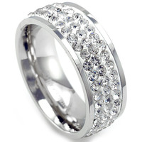 Alex's Collection Stainless Steel White Gold Unisex Eternity Wedding Band