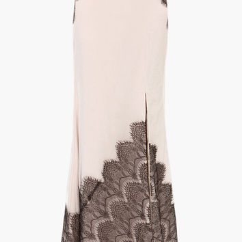Off White Eyelash Lace Accent with High Side Slit Maxi Skirt