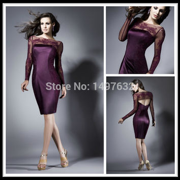 2016 Vestido de Festa Grape Scoop Lace Long Sleeve Knee Length Formal Women's Dresses Mermaid Short Cocktail Party Dress