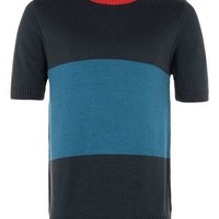 Blue Colour Block Knitted T-Shirt - New This Week - New In