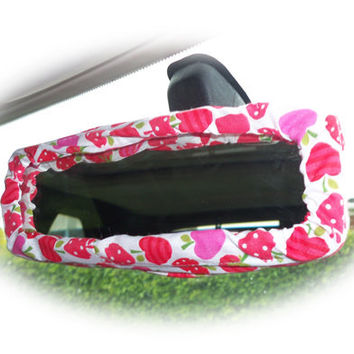 Pretty pink and red Strawberry apples suprise print car rear view interior mirror cover cotton cute girly girl pretty summer