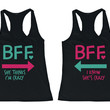 She Thinks I'm Crazy Matching BFF Black Tank Tops (Set)