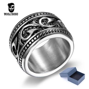 Punk Biker Mens Rings Stainless Steel Vintage Amulet Religion Rings Totem Dragon Pattern Ring Retro Men Jewelry Wedding Bands