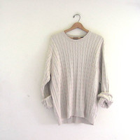 vintage oversized sweater. natural off white pullover sweater. men's size XL