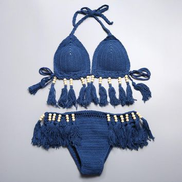 Sexy pure color halter blue tassel Beaded weave knit two piece bikini
