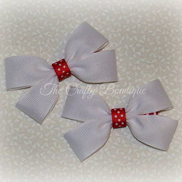 Red & White Bow ~ White Hair Bow ~ Red Polka Dot Bow ~ Small White Bow ~ White Clippies ~ White Pigtails ~ Christmas Hair Bow ~ Red Hair Bow