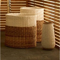 """Threshold™ Color Block Round Woven Basket - 12x17"""""""