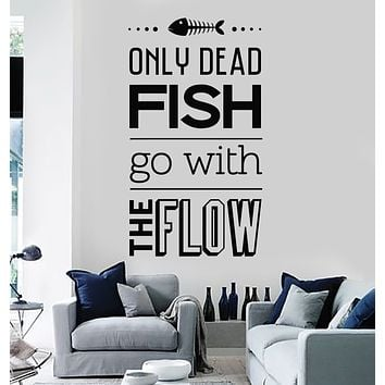 Vinyl Wall Decal Motivational Quote Room Home Decor Dead Fish Stickers Mural (g2782)