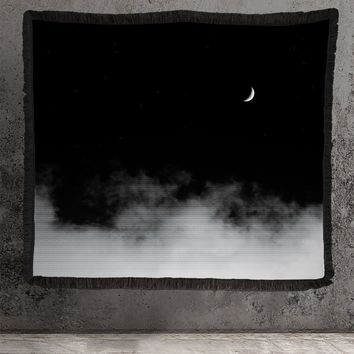 Large Woven Tapestry - Night Sky Moon and Clouds Tapestry - Cotton