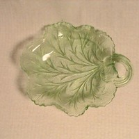 Indiana Vaseline Glass Tray, Pebble Leaf Pattern, Circa 1930's (101)