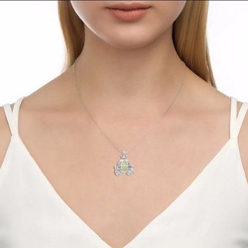 925 Sterling Silver Glowing Pumpkin Carriage Pendants & Necklaces for Women Halloween Luminous Stone Chain Jewelry Necklace Gift