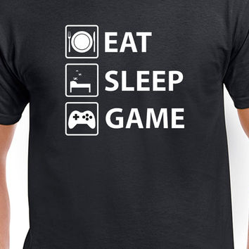 Eat Sleep Game Funny Gamer T-Shirt Unisex Gaming T-Shirt