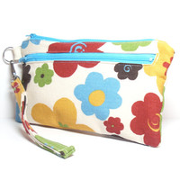 Floral Wristlet Bag - Aqua Yellow Rust Brown Green - Floral - Zipper Clutch - Holiday Gift